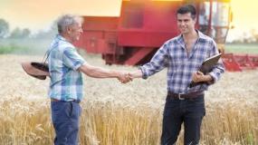 młody rolnik, kombajn, pole, zboże
