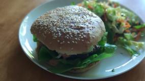 burger, frytki, mięso, wołowina