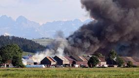 nowa biała, pożar, budynki, dym, tatry, małopolska